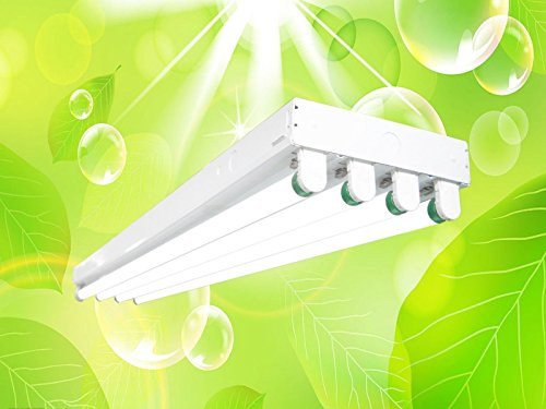 DuroLux DL344 T8 4Ft Fluorescent 4 Lamps Grow Lighting System with 13000 Lumens and 5000K Full Spectrum with bulbs