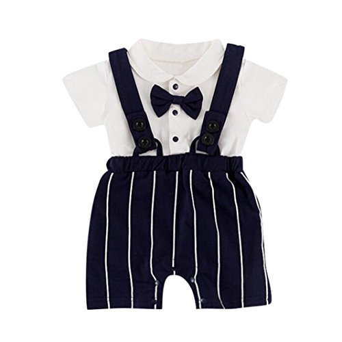 2Pcs/Set Infant Baby Boys Gentleman Outfits Short Sleeve Bow T-Shirt+ Stripe Bib Pants Outfits (Dark Blue, 12-18 ()