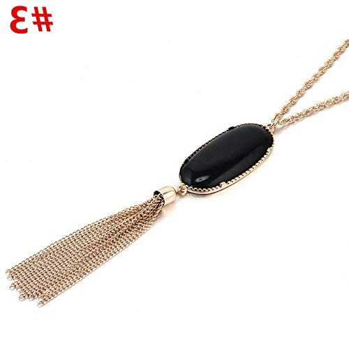 Hebel Womens Charm Druzy Stone Enamel Feather Beads Long Tassel Pendent Necklace JT | Model NCKLCS - 33014 |