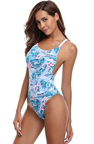 Cut Leaf Lilac - SHEKINI Women's Monokini Swimsuits High Cut Low Back Leaves Printing One Piece Swimwear Bathing Suit (Medium/(US 8-10), Lilac)