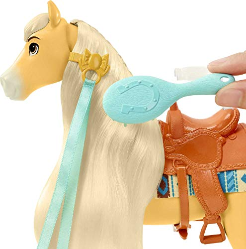 Mattel Spirit Untamed Miradero Festival Styling Chica Linda Horse (8-in) with Long Mane and Tail & Hair Play Accessories, Great Gift for Ages 3 Years Old & Up