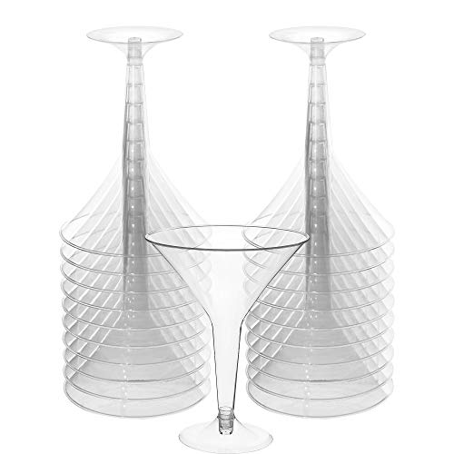 Big Party Pack Clear Plastic Martini Glasses | 8 oz. | Pack of 20 | Party Supply