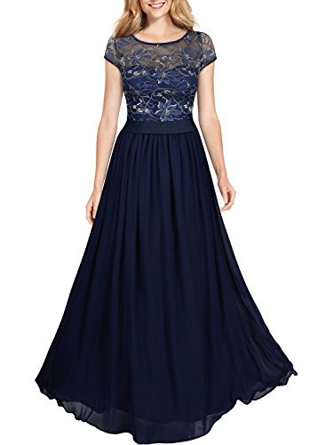 Miusol Damen Kleid Lace Blume Spitze Stickerei Rundhals Chiffonkleid Maxi Langes Abendkleid Dunkelblau Gr.3XL