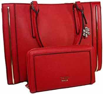 8d8b6e7c6b7 New Guess Logo Purse Satchel Hand Bag   Big Wallet Set 2 Piece Matching Red