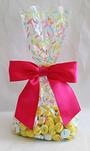 Candy Sprinkles Cello Party Favor Treat Bags 5'' x 3'' x 11 1/2 with Twist Tie Satin Bows - 1 dozen (12) (Candy Sprinkles, Large) by Magical Times 808