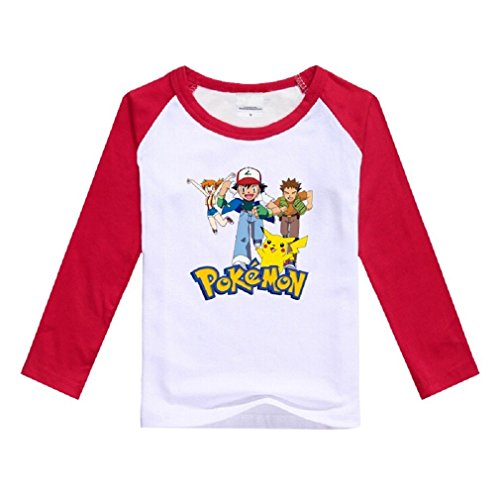Price comparison product image Natty Sweeties Baby Toddler kid's Pokemon Go Long Sleeve T shirt Unisex (6 years,  Ash red)