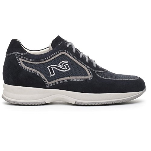 04751 INDIOS Scarpa uomo sneaker Nero Giardini blu pelle made in italy