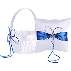 TrueLoveGift Ring Bearer Pillow and Wedding Flower Girl Basket Set Love Rhinestones Satin Collection Wedding Anniversary Celebrations Party Decoration (Blue)