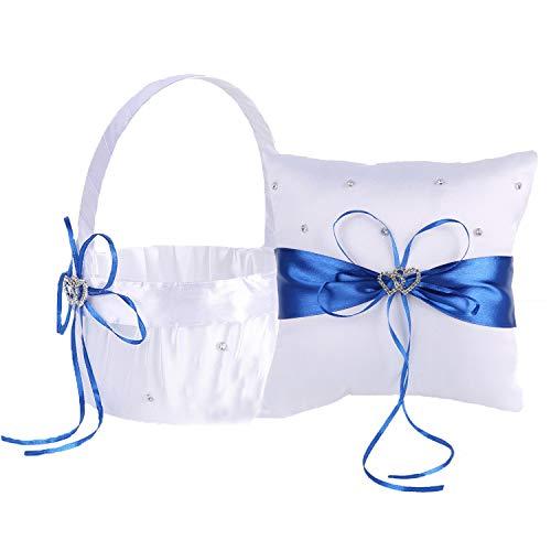 TrueLoveGift Ring Bearer Pillow and Wedding Flower Girl Basket Set Love Rhinestones Satin Collection Wedding Anniversary Celebrations Party Decoration (Blue) by TrueLoveGift