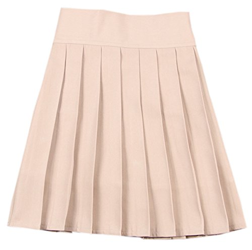 (NAWONGSKY Women's Solid Plain High Waisted School Uniform Cosplay Costume Pleated Skirt, Khaki, Tag M = US)