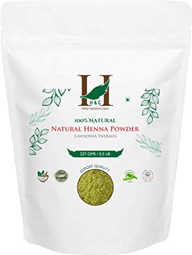 H&C 100% Natural and Pure Henna Powder/Lawsonia Inermis (Organically Grown) 227 gms (1/2 LB) for Hair ()