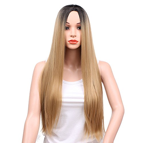Beauty : AisiBeauty Ombre Blonde Wig Long Blonde Straight Wig Black Roots 2 Tone Colors Middle Part Blonde Wig Heat Resistant Fiber Wig for Women