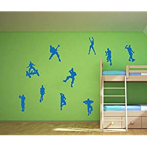 LHKSER Video Game Wall Decal Wall Sticker Poster Floss Dancing Decal Game Room Decor Children Gift Nursery Boys Room Wall Vinyl Decal Game Stickers Home Decor (Blue)