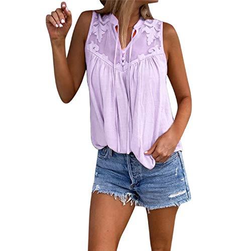 - Women's Summer Sleeveless Chiffon Blouse Flowy Tank Top V Neck Loose Cami Tops Casual Camisole by ANKOLA Purple