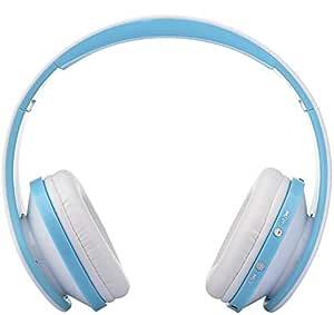 Foldable Wireless Bluetooth Stereo Headset Handsfree Headphones Mic white blue