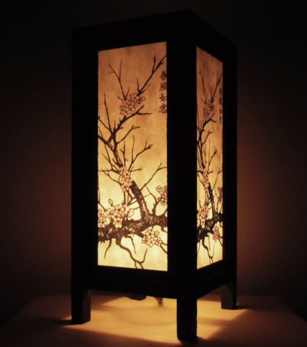 e ASIAN Oriental CHERRY BLOSSOM TREE Bedside Table Lights or Floor Wood Saa Paper Lamp Home Decor Bedroom Decoration (Cherry Paper Floor Lamp)