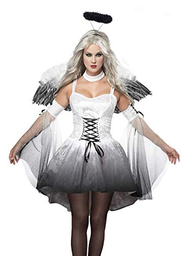 Halloween Women Angel Evil Costume Cosplay Halo Dress with Wings and Headwear -