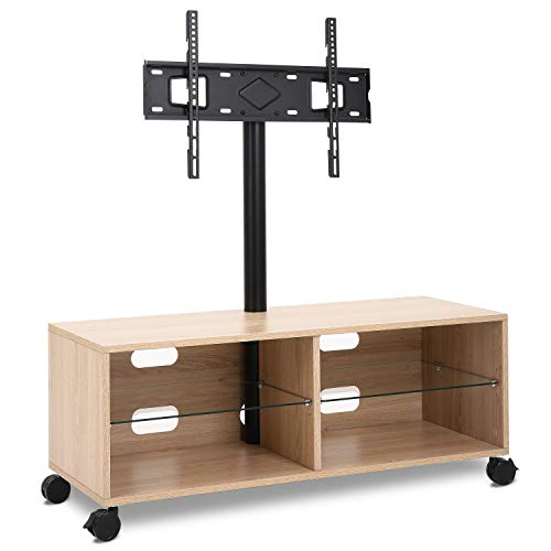 Rfiver Entertainment Center Wood Media TV Stand with Swivel Mount and Rolling Wheels for 32