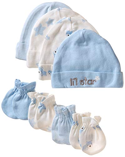 Mitten 3 Piece Set (Gerber Baby Boys' 8-Piece Organic Cap and Mitten Set, Stripe Bear, 0-6 Months)