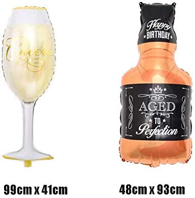 ED-Lumos Gigante Globos de Helio 7 Piezas Decoración para cumpleaños Fiesta Bar Modelo Whisky Coctelera Champán Copa de Cerveza Botella de Vino 45cm x 90cm