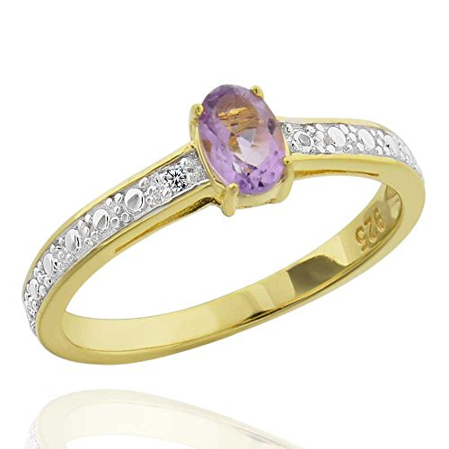 Sterling Silver Two-Tone Oval Brazilian Amethyst & Diamond Accent Ring Sz 8