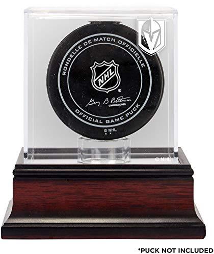 (Sports Memorabilia Vegas Golden Knights Mahogany Hockey Puck Logo Display Case - Hockey Puck Free Standing Display Cases)