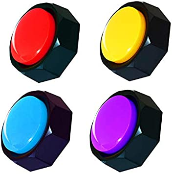 BOSKEY recordable Button, Dog Training Buzzer Record and Play Your own Message 30 Second Record Button, Multiple Colour Buttons (Including Battery) (Red+Yellow+Purple+Blue)