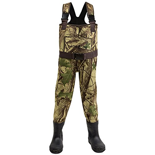 Neoprene Kids Waders - Lone Cone Kids and Toddlers Adjustable Neoprene Chest Waders, 6/7, Camo