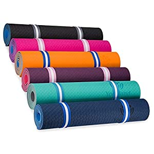 YOGALAND Premium Yoga Mat with Carrier Strap – Yoga Mat 6mm 1/4-Inch Thick Non-Slip Eco-Friendly Lightweight Extra Large…