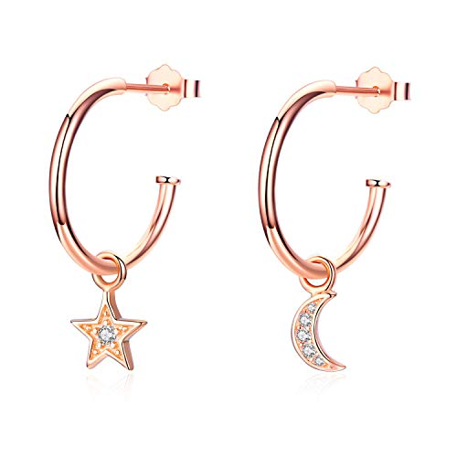 (Rose Gold Star and Moon Hoop Earrings Women Small Open Hoops Earrings Gifts for Ladies )