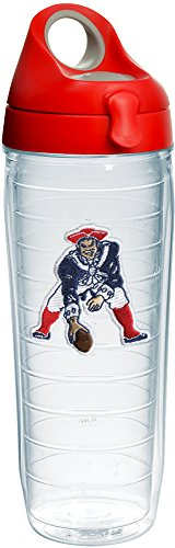 Water Nfl Bottle - Tervis 1231133 NFL New England Patriots Legacy Tumbler with Emblem and Red with Gray Lid 24oz Water Bottle, Clear