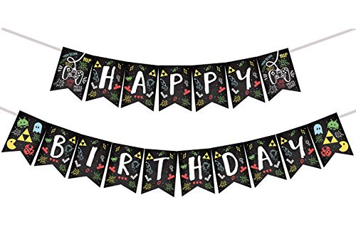 Video Game Party Happy Birthday Banner -Retro Game(Block,Greedy,Little Bee,Shooting Game etc.)Party Decorations -Arcade Game Banner Pecfect for Boy's and Girl's Birthday -