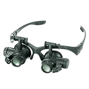 JBENG Magnifying Glasses Jewelry Loupe Watch Repair Magnifier Eyewear Miniature Magnifying Glass Loop 10x 15x 20x 25x Magnifier Headset Hands Free with LED Lights