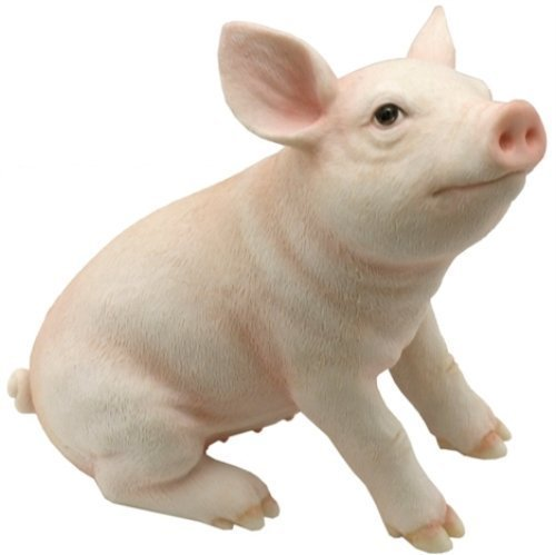 4.88 Inch Cute Baby Pig Decorative Statue Figurine, Pink and White by Unknown