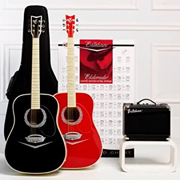 Esteban Cadillac Red Eldorado Acoustic Electric Guitar Package w