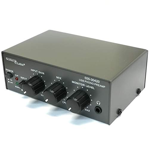 Stellar Labs Phono Preamp for Turntable, Pre Amp with USB Digital Recording, Input Gain, Mix and Monitor Level Controls, Low Noise USB Phono Pre Amplifier