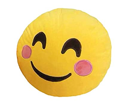 Grabadeal Soft Smiley Emoticon Yellow Round Cushion Pillow Stuffed Plush Toy Doll (Cheeky)