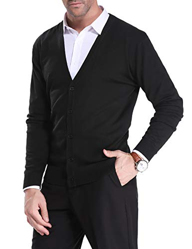 iClosam Mens Slim Fit V-Neck Knitted Button Down Cardigan Sweater with Ribbing Edge (#2Black, X-Large) ()