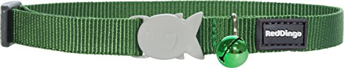 Red Dingo Classic Cat Collar, One Size Fits All, Green