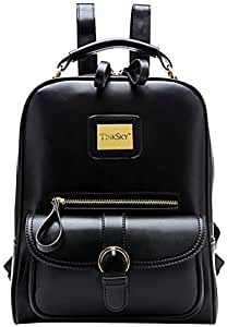 Tinksky® Vintage Shoulders Bag Fashion Student Backpack School Bag (Black)