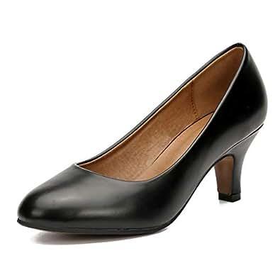 MAIERNISI JESSI Women's Classic Round Toe Pump Kitten Low Heel Shoes Black Size: 6