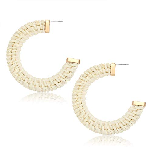 YAHPERN Hoop Earrings for Women Bohemian Weave Straw Round Circle Earrings Handmade Lightweight Rattan Wicker Stud Hoop Earrings (Light ()