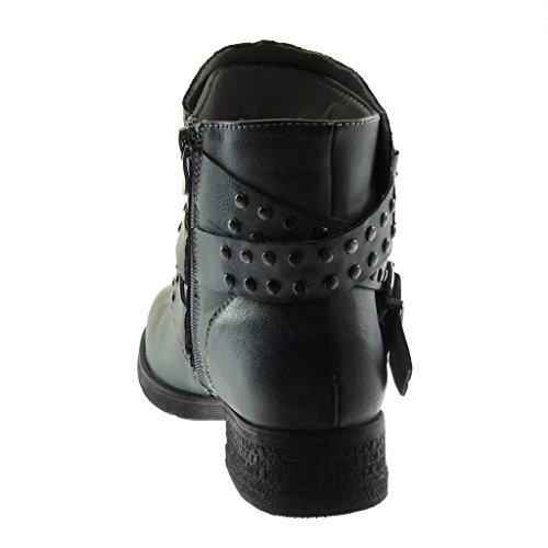 5 Fashion Studded Boots Ankle Classic Blue Shoes Angkorly Booty cm Women's Heel Biker Thongs 3 grey high Buckle Style Crossed Block Vintage q5fUwS