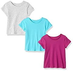 An Amazon Brand - This short-sleeve T-shirt is a wardrobe staple with crewneck collar and straight hem