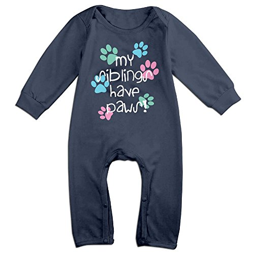[Infant Baby's My Siblings Have Paws Long Sleeve Climb Romper 18 Months Navy] (Dalmatian Pajama Infant Costumes)