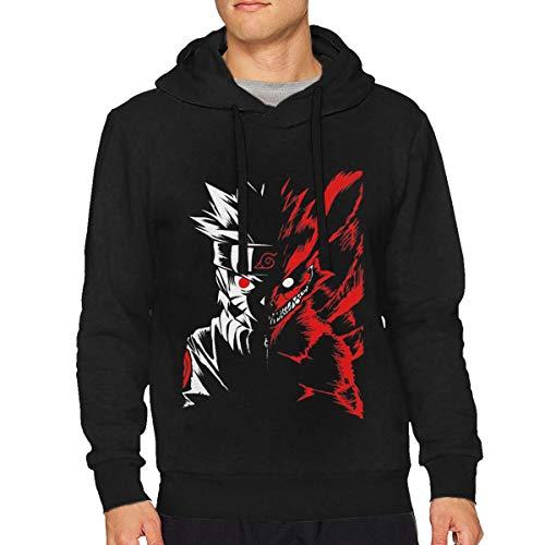 Sbbiegen886wo Men's Naruto Apparel -Naruto Two Face Lightweight Hoodies Hooded Sweatshirt M Black -