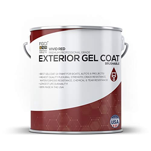 Vivid RED Boat Paint, Brushable Exterior Gel Coat KIT, 1 Quart W/ 1 OZ MEKP, No Wax/Sanding, Professional Marine GELCOAT, Boat Exterior Hulls, Boat Interior Decking, DIY Projects