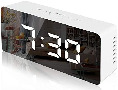 Lambony Reloj Despertador con Espejo Digital con Pantalla LED de Temperatura, Tiempo de repetición, Brillo Ajustable, USB y Funciona con Pilas para Dormitorio, Oficina, Blanco(Nueva versión)