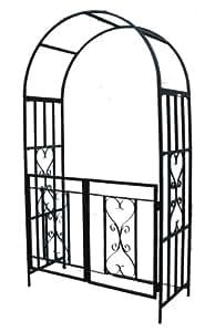 Pérgola de jardín «Marseille» con puerta, barras de ayuda laterales. Apta para todas las plantas trepadoras