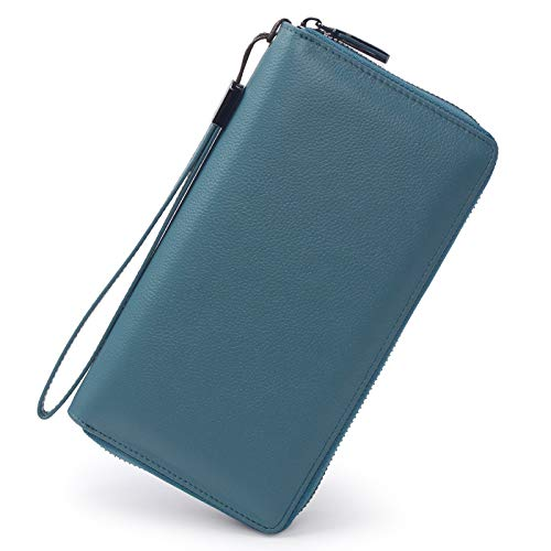 (Women RFID Blocking Wallet Leather Zip Around Phone Clutch Large Travel Purse Wristlet (Lake Blue))